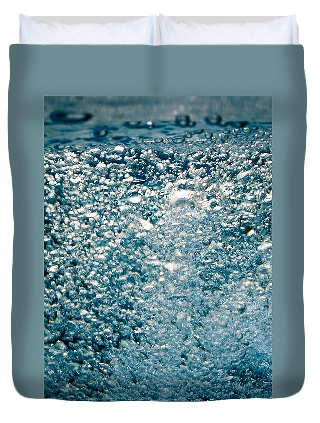 Abstract Duvet Cover featuring the photograph Blue White Water Bubbles In A Pool by U Schade