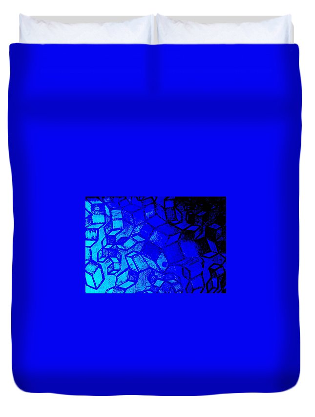 Etching Duvet Cover featuring the photograph Blue Zinc by Chris Berry