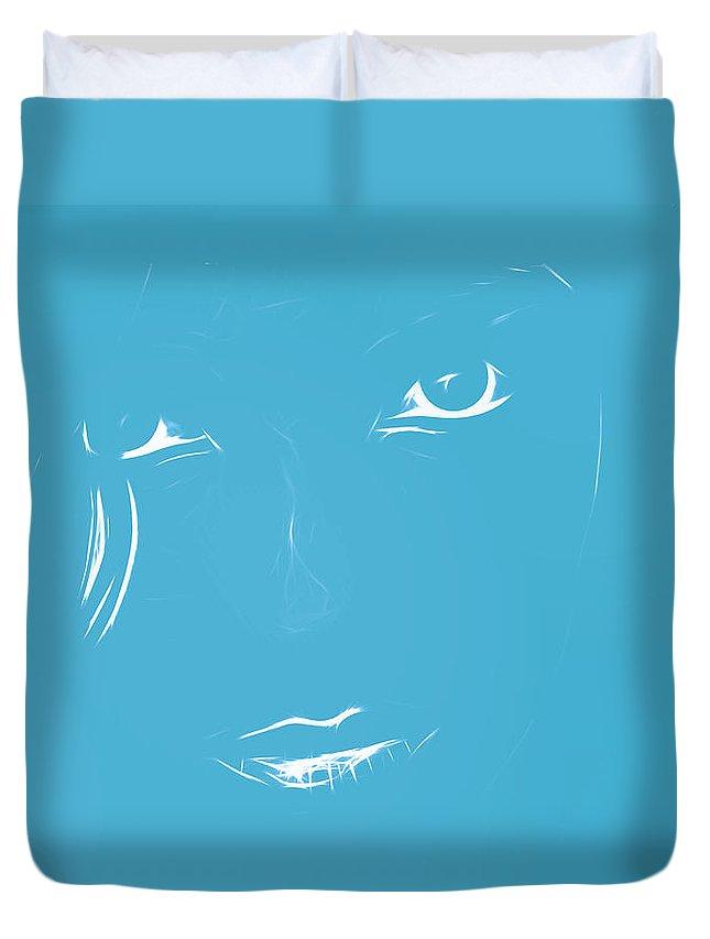 Blue Print Blueprint Face Girl Woman Female Look Eyes Abstract Duvet Cover featuring the digital art Blueprint by Steve K
