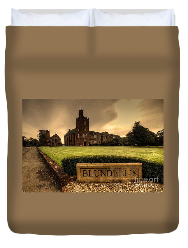 Blundells Duvet Cover featuring the photograph Blundell's School by Rob Hawkins