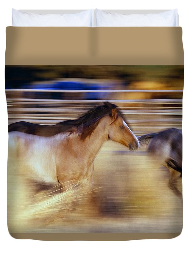 Freedom Duvet Cover featuring the photograph Blurred View Of Horses Running Through by Natural Selection Craig Tuttle