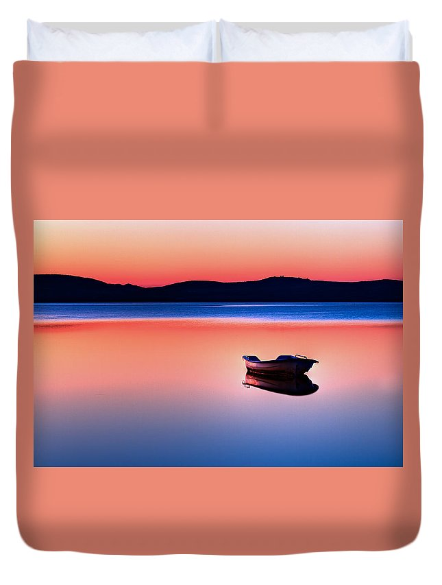 Blue Duvet Cover featuring the photograph Boat In Sunset II by Gert Lavsen