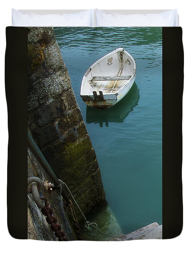 Row Duvet Cover featuring the photograph Boat In The Harbor by Beth Riser