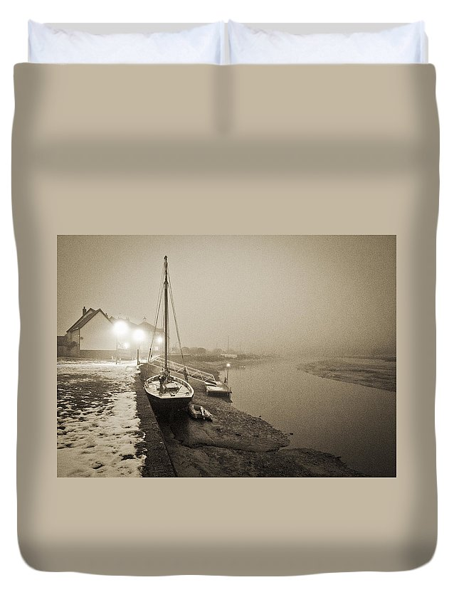 Essex Duvet Cover featuring the photograph Boat On Wintry Quay by Gary Eason