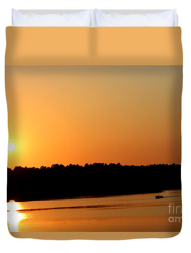 Sunsets Duvet Cover featuring the photograph Boating At Sunset by Kathy White