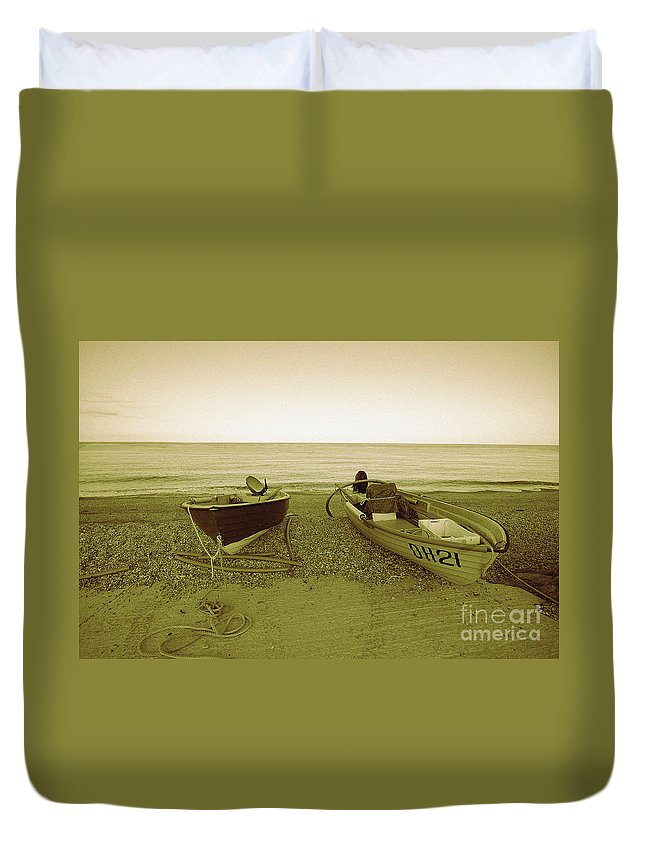 Boats Duvet Cover featuring the photograph Boats At Beesands by Rob Hawkins