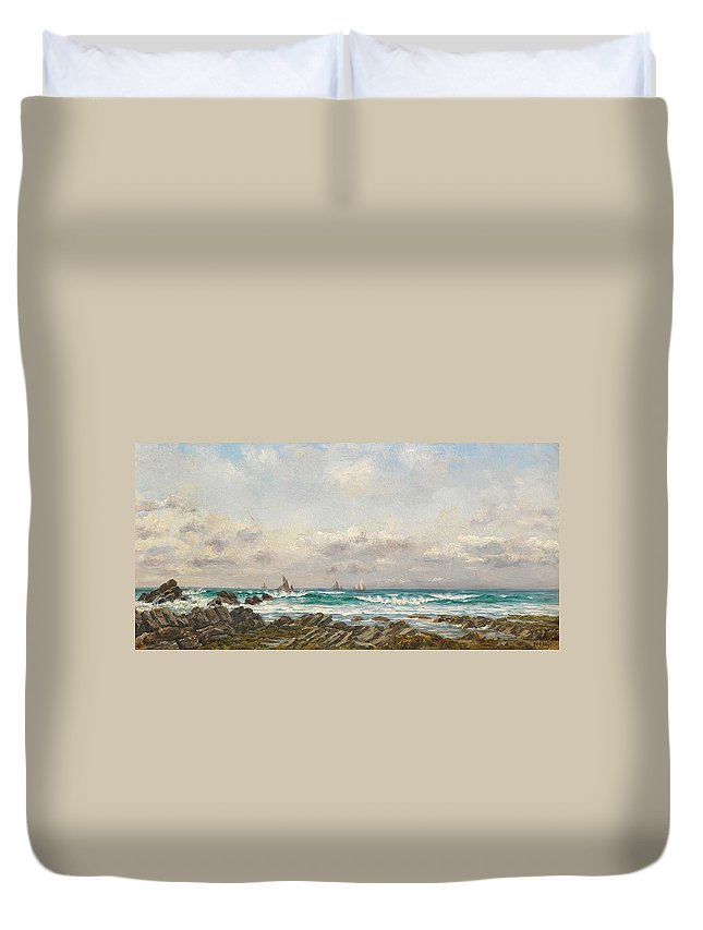 Seascape Duvet Cover featuring the painting Boats At Sea by William Lionel Wyllie