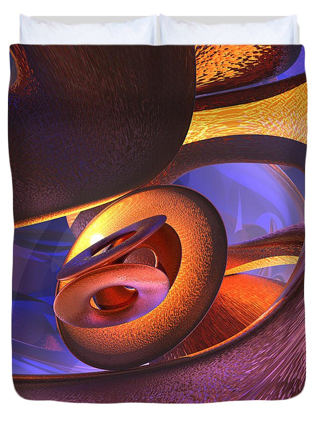 3d Duvet Cover featuring the digital art Bold Contagion Abstract by Alexander Butler