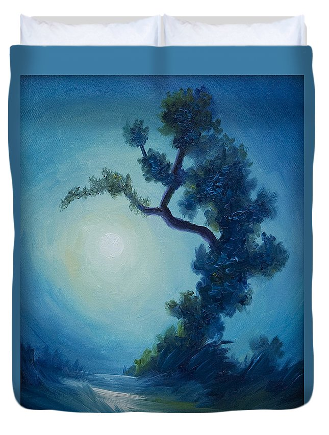 Nature Duvet Cover featuring the painting Bonsai I by James Christopher Hill