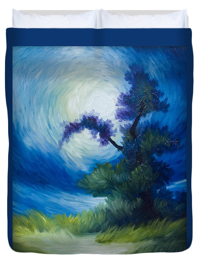 Nature Duvet Cover featuring the painting Bonzai II by James Christopher Hill