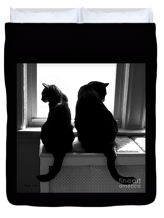 Cats Duvet Cover featuring the digital art Bookends by Dale  Ford