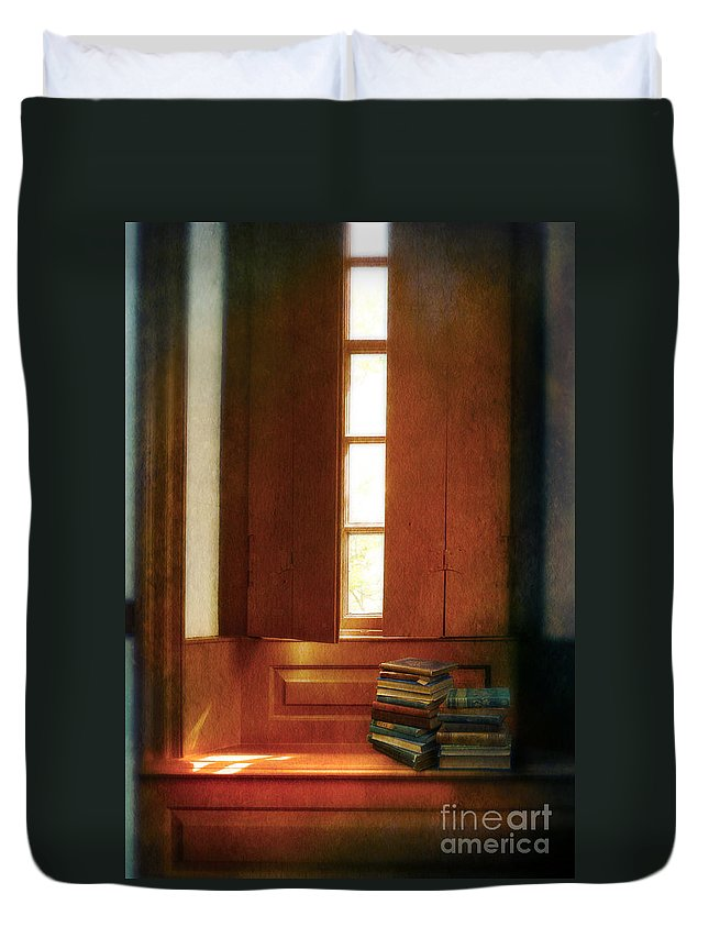 Interior Duvet Cover featuring the photograph Books On A Window Seat by Jill Battaglia