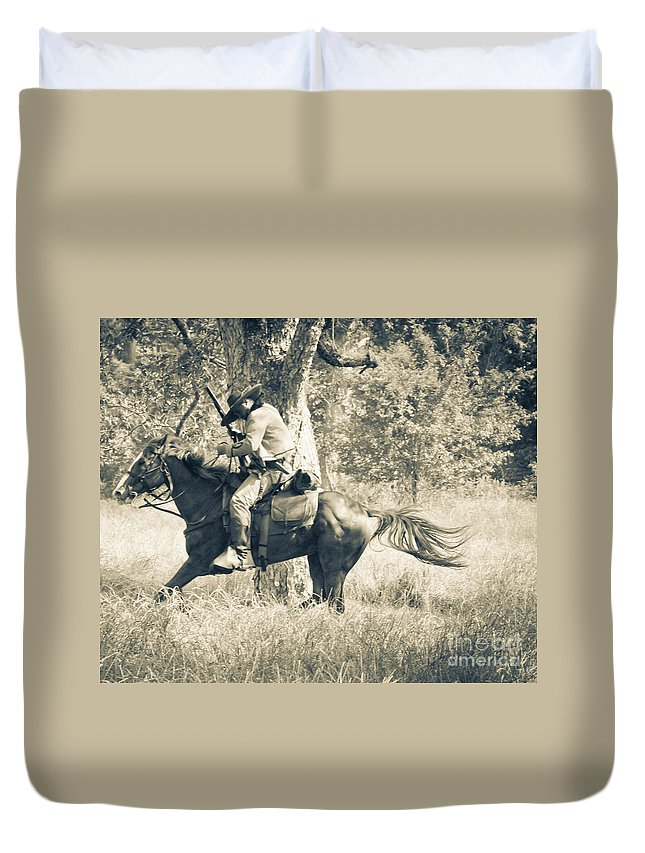 Reenactment Duvet Cover featuring the mixed media Born To Ride by Kim Henderson