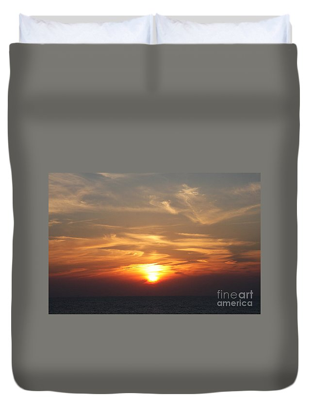 Sunset Duvet Cover featuring the photograph Bosphorus Sunset Marmara Sea by Christiane Schulze Art And Photography