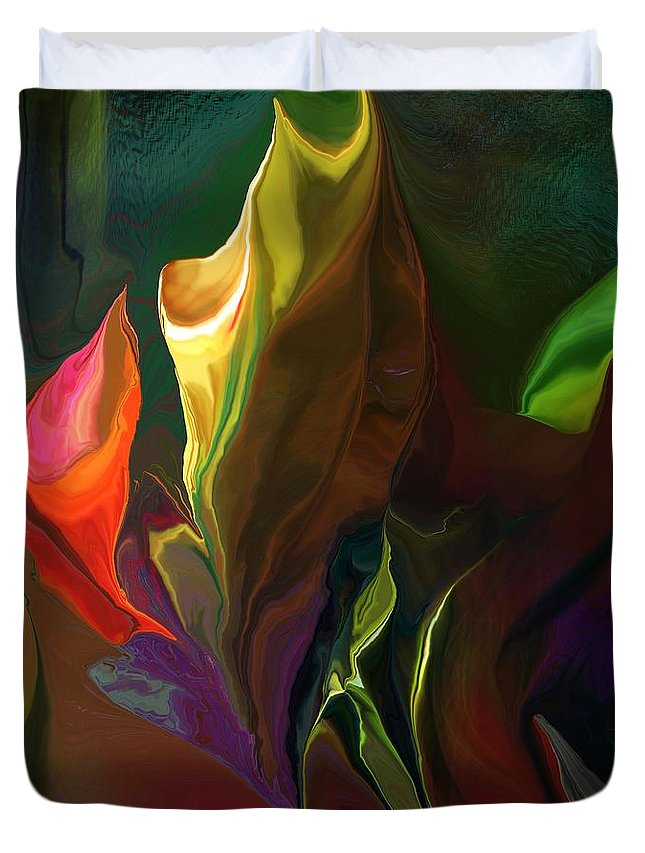 Fine Art Duvet Cover featuring the digital art Botanical Fantasy 121211 by David Lane