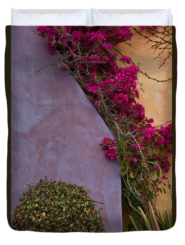 Architectural Duvet Cover featuring the photograph Bougainvillea by Roger Mullenhour
