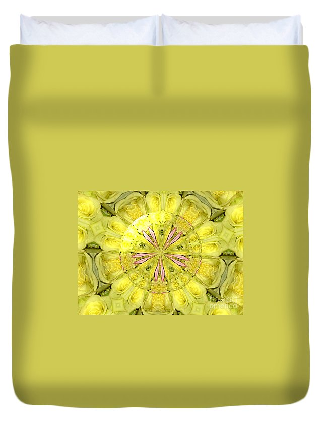 Yellow Roses Duvet Cover featuring the photograph Bouquet Of Roses Kaleidoscope 12 by Rose Santuci-Sofranko