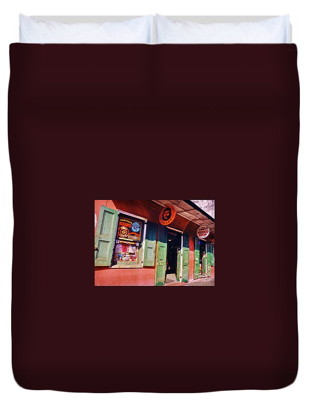 Store Fronts Duvet Cover featuring the photograph Bourbon Stree Shops by John Malone