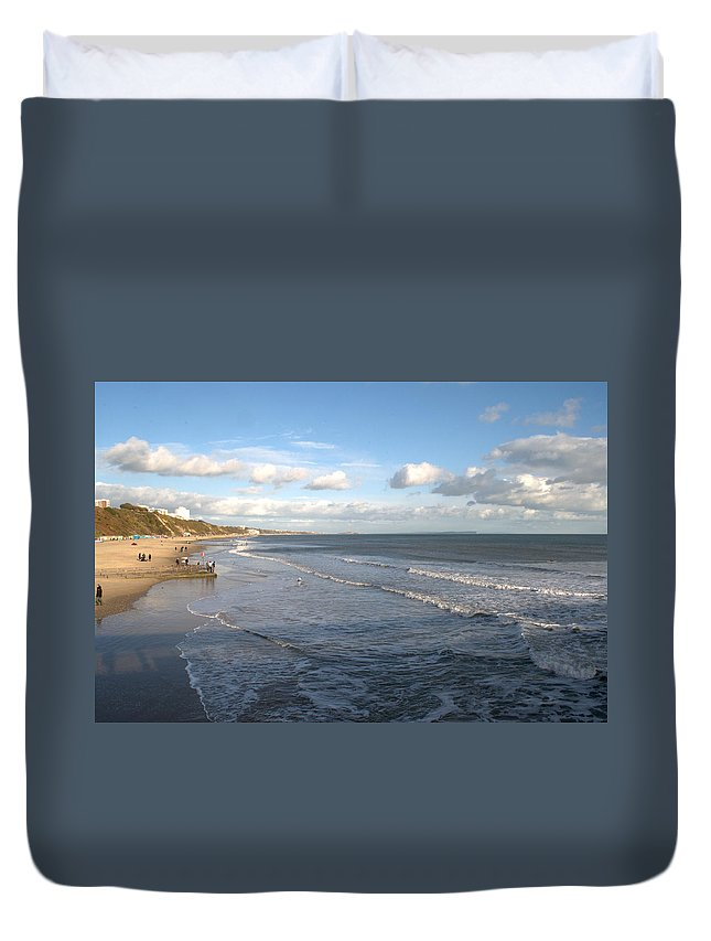 Bournemouth Duvet Cover featuring the photograph Bournemouth Beach by Chris Day