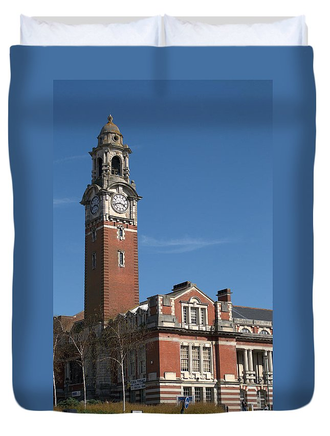 College Duvet Cover featuring the photograph Bournemouth College by Chris Day