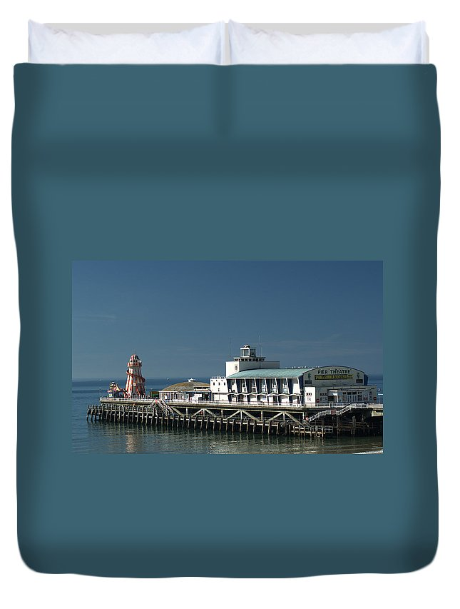 Bournemouth Pier Duvet Cover featuring the photograph Bournemouth Pier by Chris Day