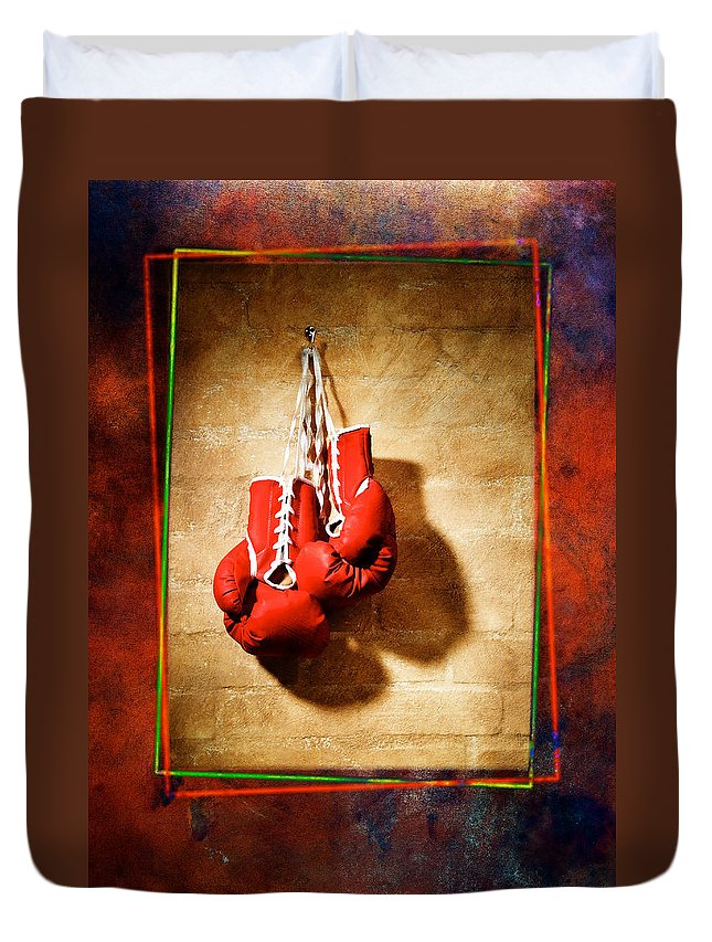 Gloves Duvet Cover featuring the pyrography Boxing by Mauro Celotti