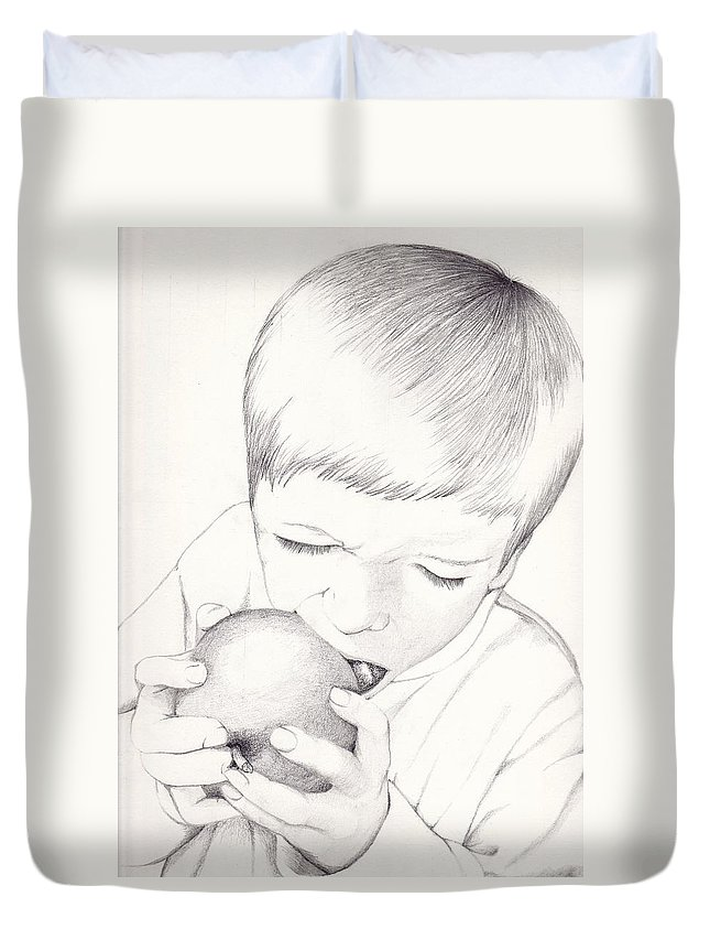 Apple Duvet Cover featuring the photograph Boy With Apple by Kelly Hazel
