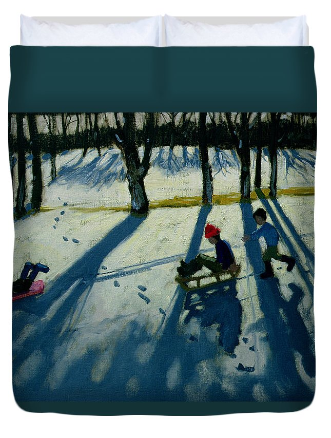 Sledge Duvet Cover featuring the painting Boys Sledging by Andrew Macara