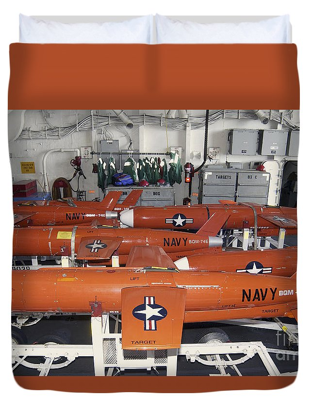Bay Duvet Cover featuring the photograph Bqm-74e Chukar Target Drones Stowed by Stocktrek Images