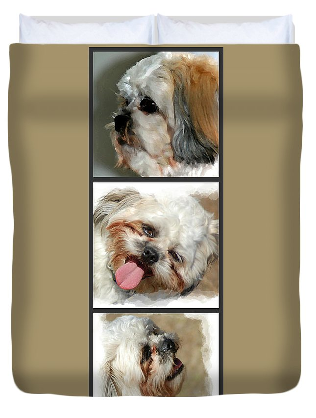 Dog Duvet Cover featuring the photograph Brady by Donna Bentley
