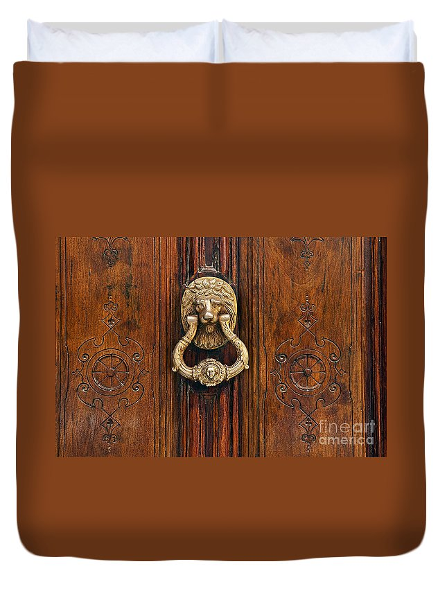 Madrid Duvet Cover featuring the photograph Brass Door Knocker by John Greim