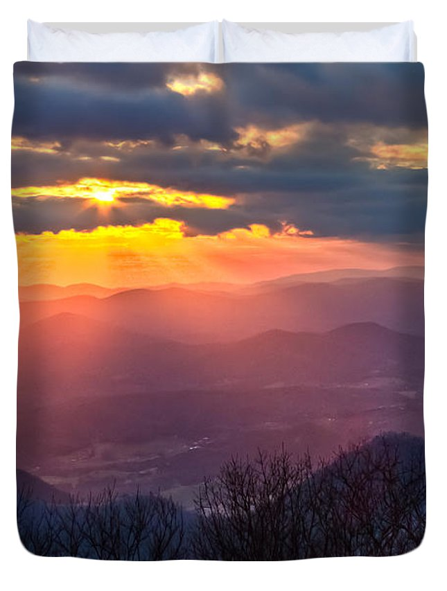 Appalachia Duvet Cover featuring the photograph Brasstown Sunset by Debra and Dave Vanderlaan
