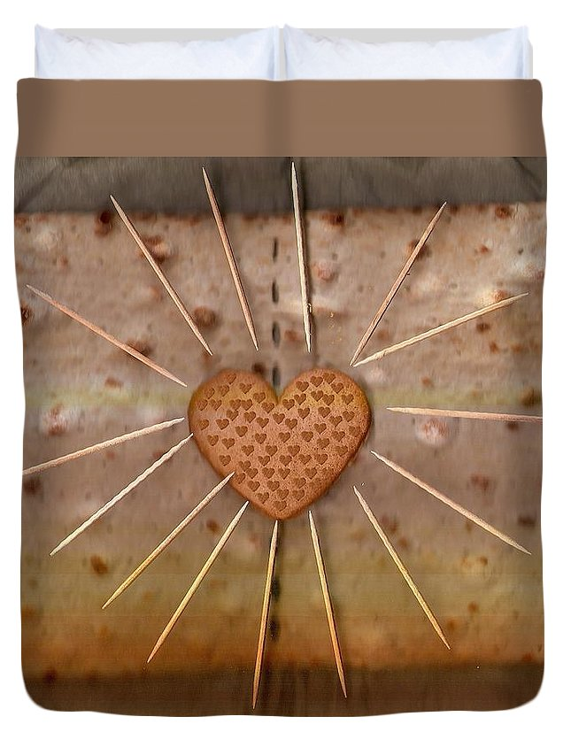Heart Duvet Cover featuring the mixed media Bread Sunshine And Love by Pepita Selles