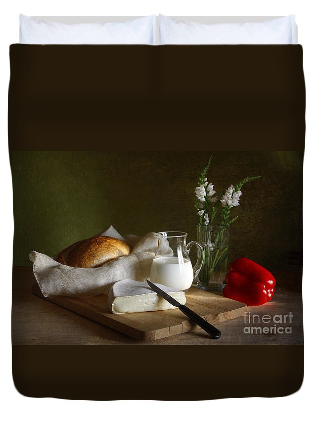 White Duvet Cover featuring the photograph Breakfast by Matild Balogh