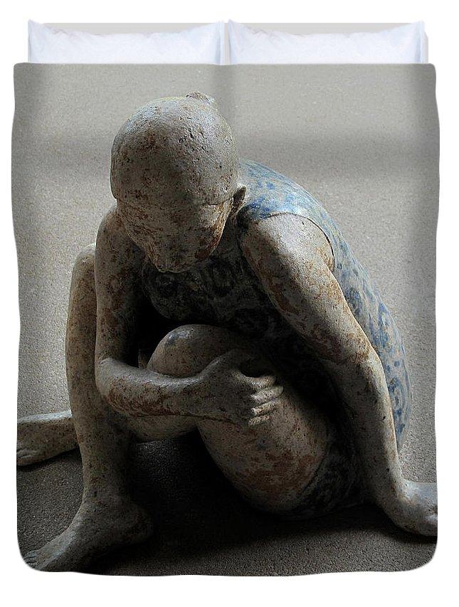 Sculpture Duvet Cover featuring the sculpture Breakfast on the grass by Raimonda Jatkeviciute-Kasparaviciene