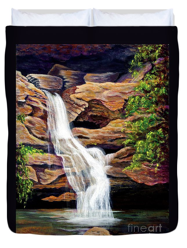 Waterfall Duvet Cover featuring the painting Bridal Shower by Nancy Cupp