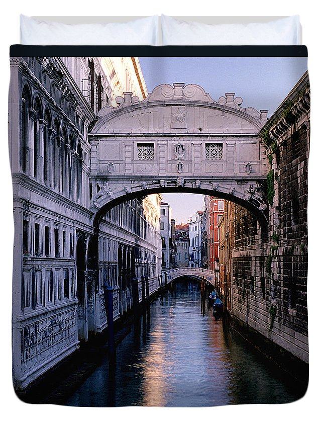 Brigh Of Sighs Duvet Cover featuring the photograph Bridge Of Sighs And Morning Colors In Venice by Greg Matchick