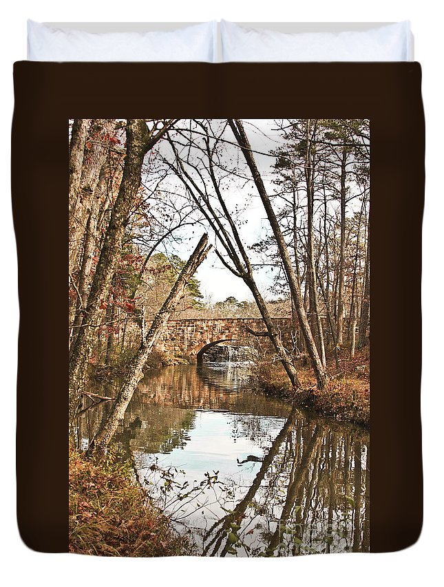 Bridge Duvet Cover featuring the photograph Bridge Reflections by Kim Henderson
