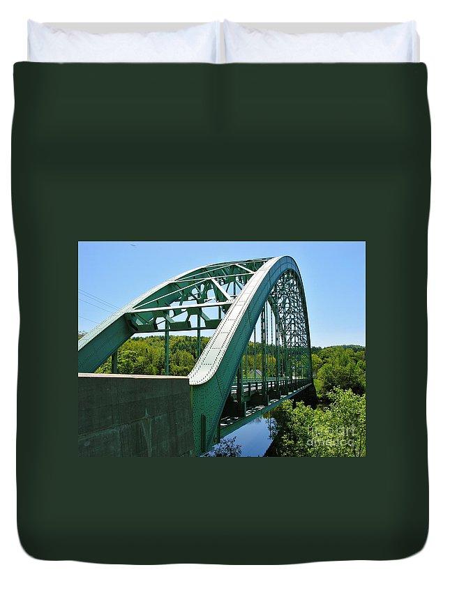 Suspension Bridge Duvet Cover featuring the photograph Bridge Spanning Connecticut River by Sherman Perry
