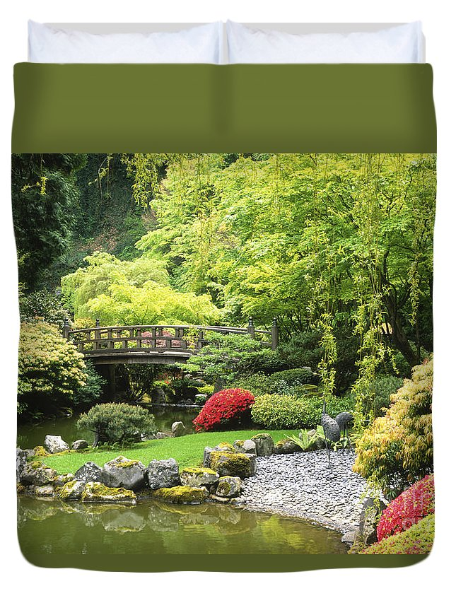 Japanese Garden Duvet Cover featuring the photograph Bridge To Tranquility by Sandra Bronstein