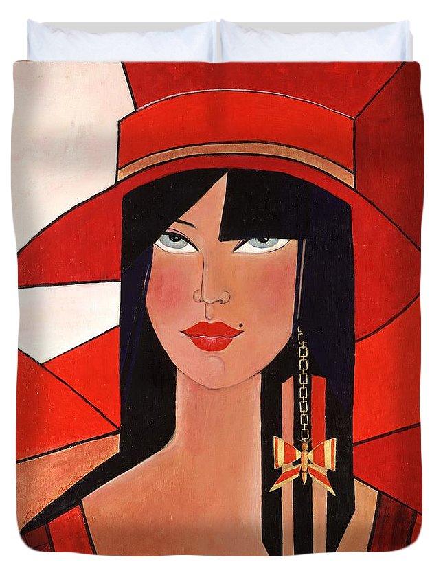Portrait Duvet Cover featuring the painting Bridget by Camelia Apostol