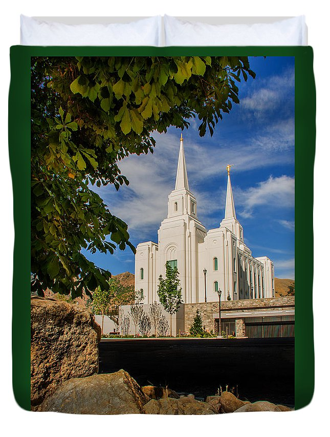 Brigham City Temple Photography Duvet Cover featuring the photograph Brigham City Temple Stones by La Rae Roberts