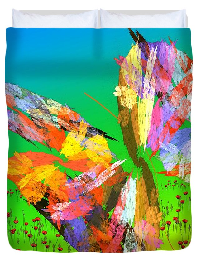 Fine Art Duvet Cover featuring the digital art Bright Elusive Butterflys Of Love by David Lane