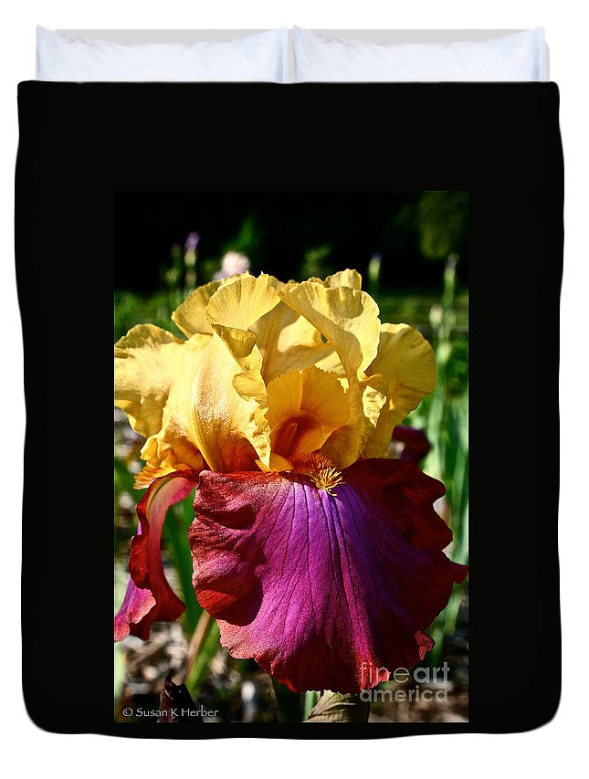 Plant Duvet Cover featuring the photograph Bright Iris by Susan Herber