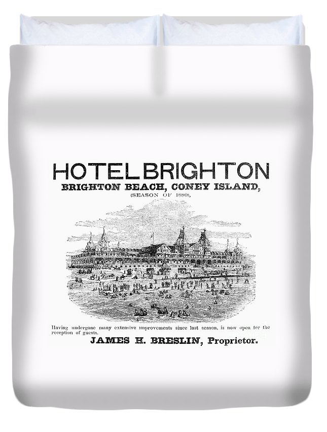 1880 Duvet Cover featuring the photograph Brighton Beach Hotel, 1880 by Granger
