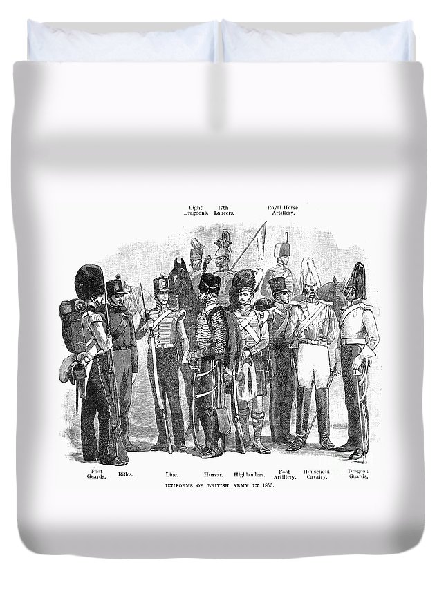 1855 Duvet Cover featuring the photograph British Army, 1855 by Granger
