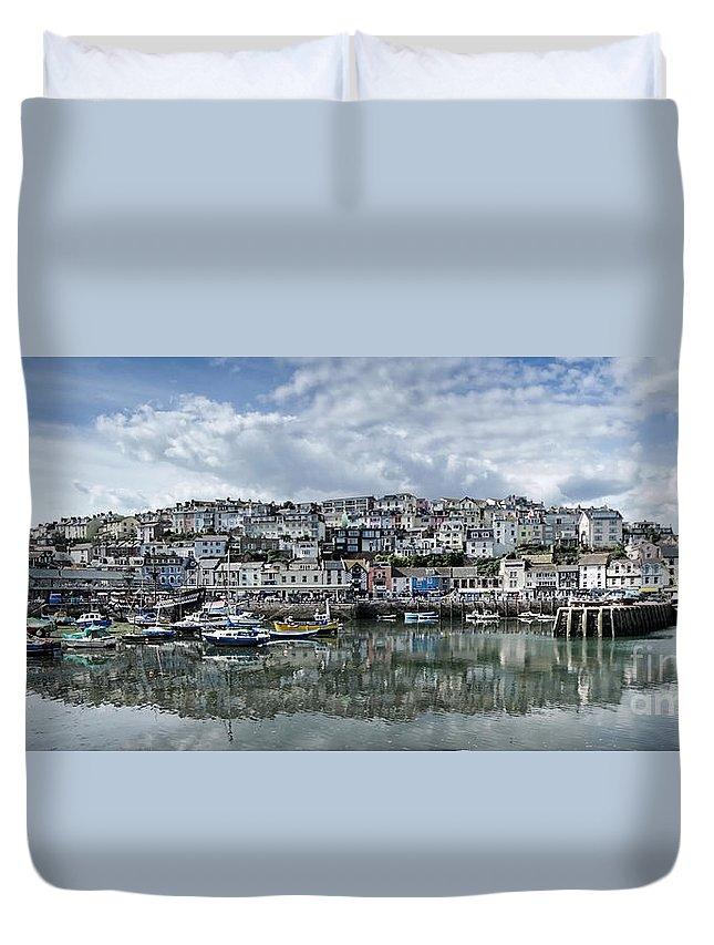 Brixham Duvet Cover featuring the photograph Brixham Harbour - Panorama by Ann Garrett