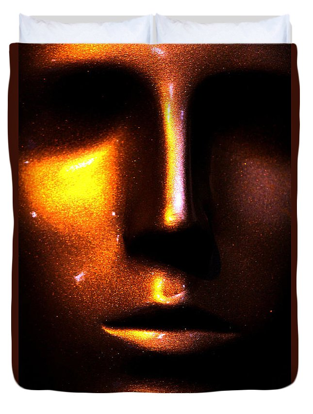 Face Duvet Cover featuring the photograph Bronze Likeness by Marie Jamieson