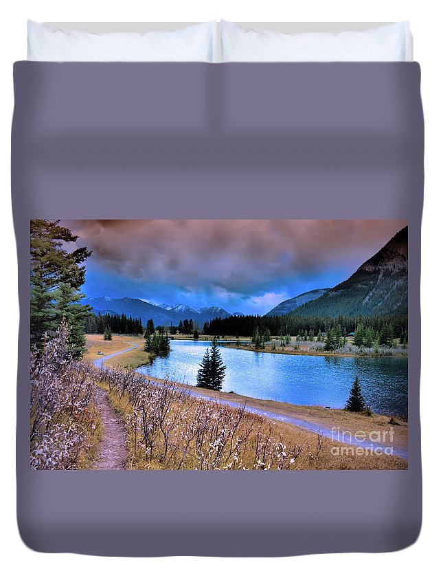 Banff Duvet Cover featuring the photograph Brooding Skies by Tara Turner