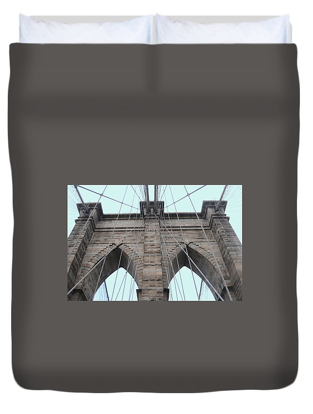 Broklyn-bridge Duvet Cover featuring the photograph Brooklyn In Blue by Maria isabel Villamonte
